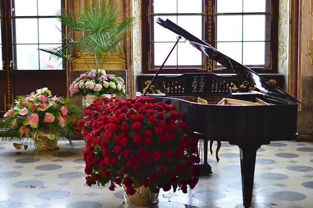 květiny u klavíru